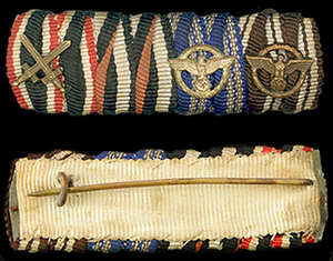 4 medal ribbon bar - 10/15 NSDAP long service