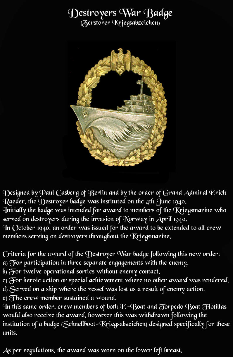 Destoyer War Badge info