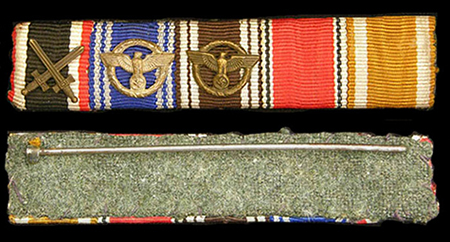 5 medal ribbon bar - 10/15 NSDAP long service