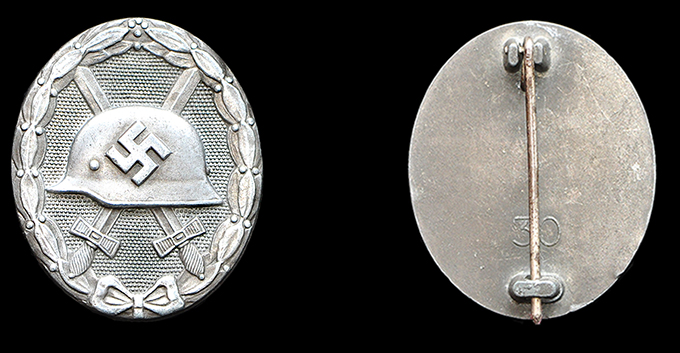 1939 wound badge in silver