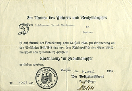 Award document for combatant