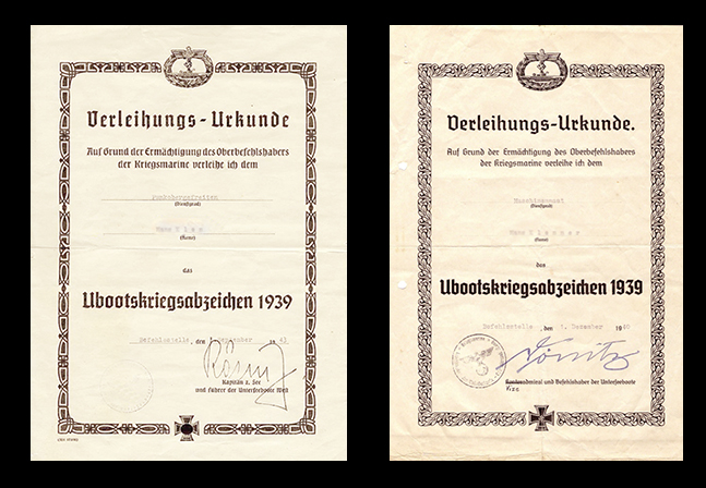 Documents for the U-boat badge